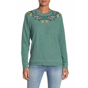 Lucky Brand Tops - Lucky Brand Green Floral Embroidered Sweatshirt